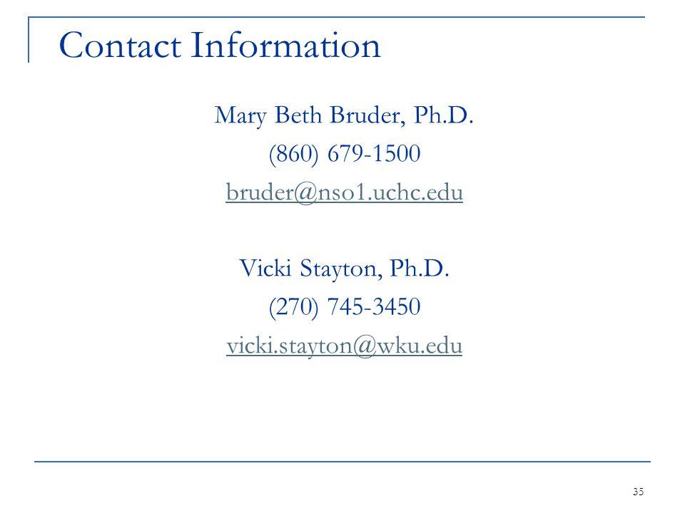 35 Contact Information Mary Beth Bruder, Ph.D. (860) 679-1500 bruder@nso1.uchc.edu Vicki Stayton, Ph.D. (270) 745-3450 vicki.stayton@wku.edu