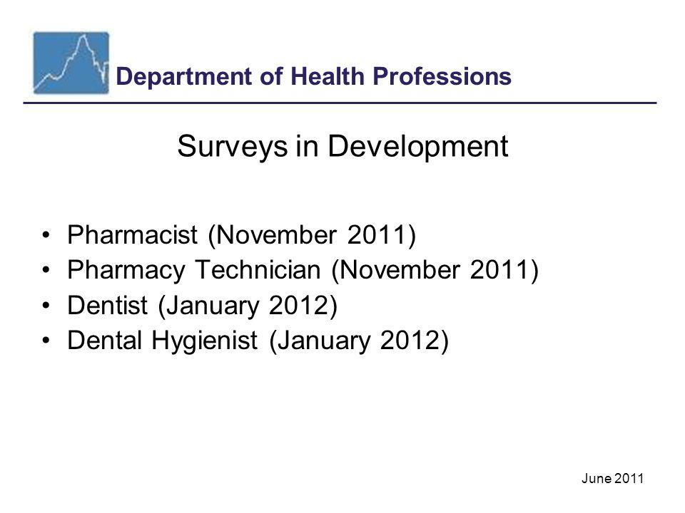 Department of Health Professions June 2011 Surveys in Development Pharmacist (November 2011) Pharmacy Technician (November 2011) Dentist (January 2012) Dental Hygienist (January 2012)