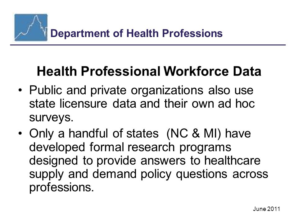 Department of Health Professions June 2011 New Surveys continued New on-line applications: –RN- Occupational Therapists –LPN- Respiratory Care Practitioner –Dentist- Pharmacists –Dental Hygienist- Pharmacy Technicians –Medicine & Surgery