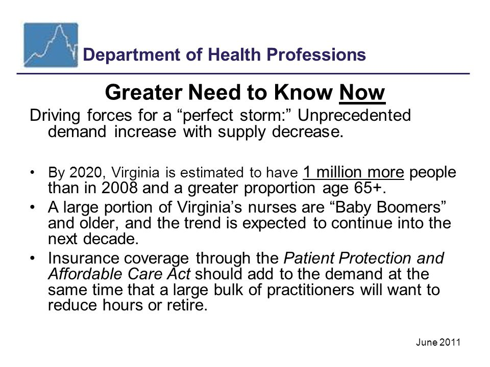 Department of Health Professions June 2011 Greater Need to Know Now Driving forces for a perfect storm: Unprecedented demand increase with supply decrease.