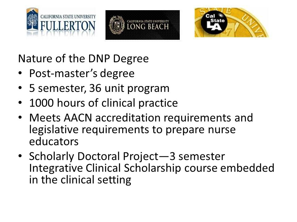 Nature of the DNP Degree Post-master's degree 5 semester, 36 unit program 1000 hours of clinical practice Meets AACN accreditation requirements and le
