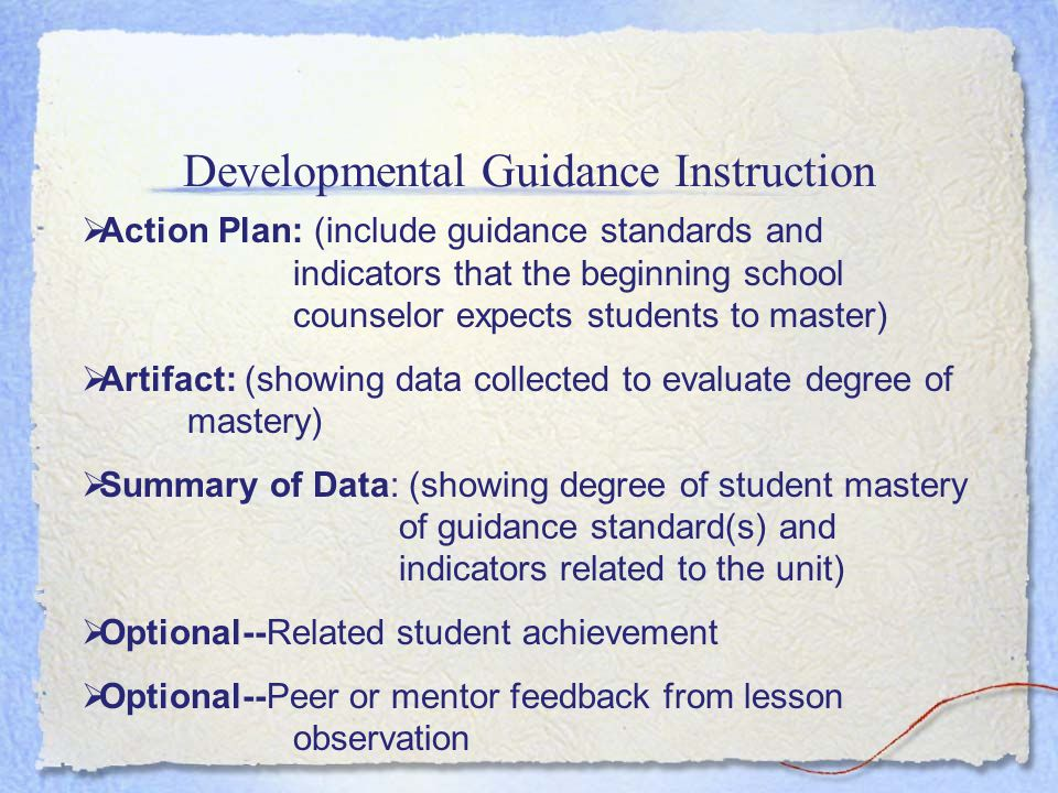 Developmental Guidance Instruction Elementary School Examples Middle School Examples High School Examples Problem solving unitCareer exploration unit SAT test taking skills unit Career awareness unit Respecting self and others unit Career planning unit Study skills unitLearning styles unitStress reduction unit