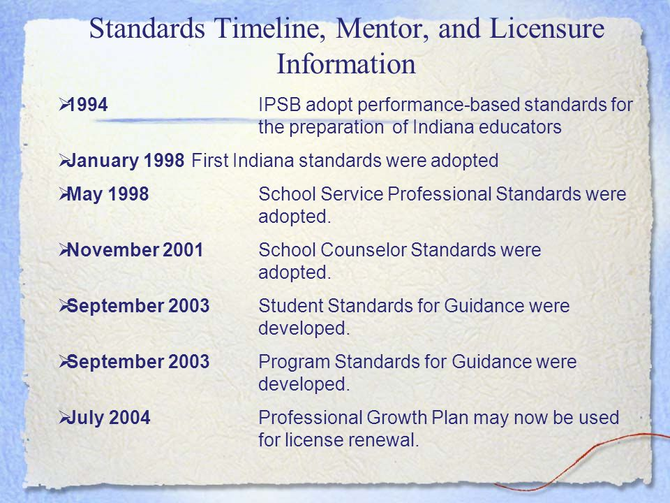 Agenda Describe the development of the Indiana Mentoring and Assessment Program for- School Counselors (IMAP-SC) Describe how Beginning School Counselors are Licensed in Indiana Describe the process for Mentor Training Describe the performance-based portfolio requirement for beginning school counselors and highlight the parallels with the elements of the ASCA National Model