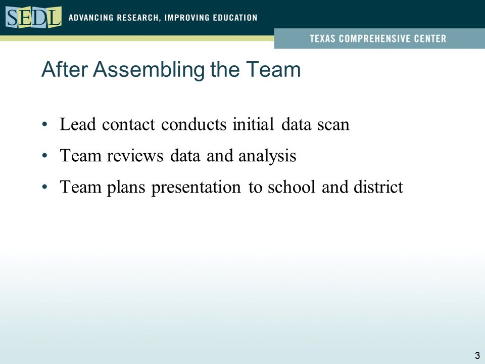 Session Questions 1.How will the SST begin its work with the school and district.