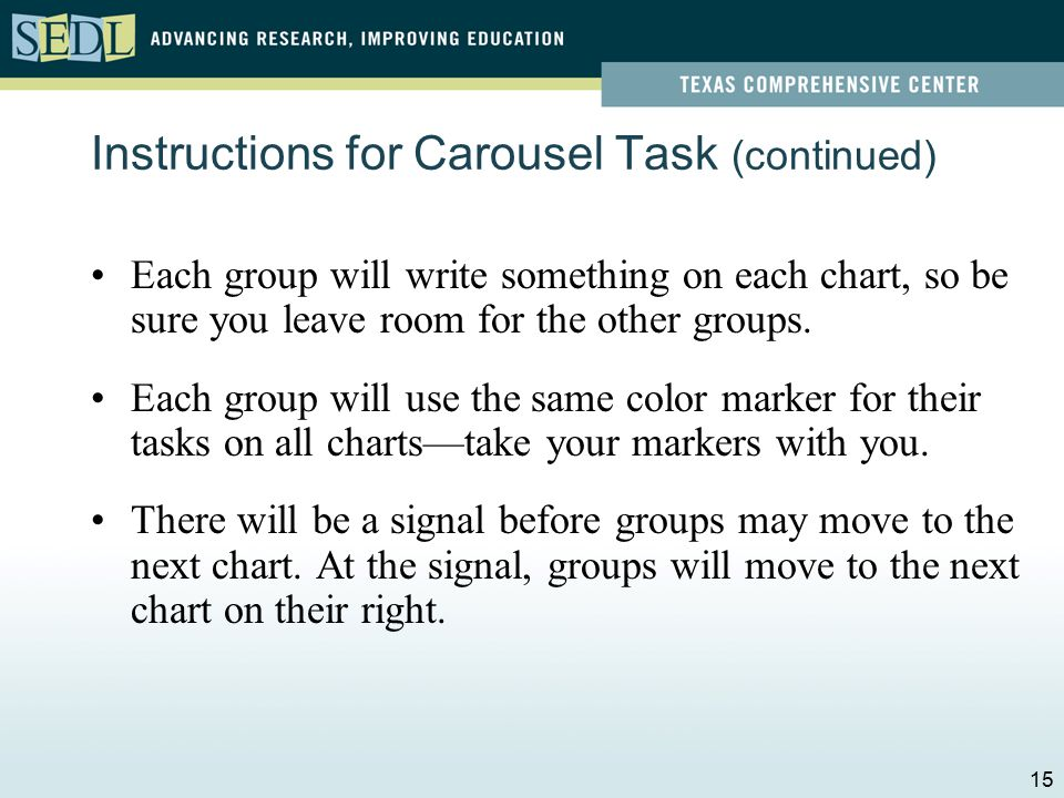 Instructions for Carousel Task There are 6 charts, one for each of the six PTLC steps.