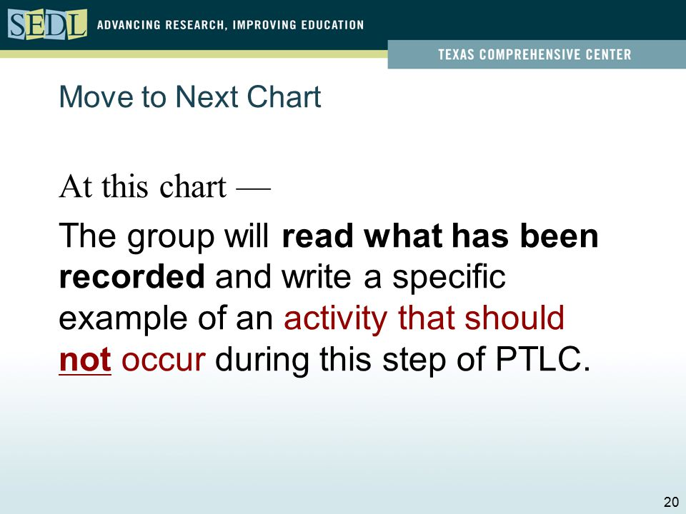 At this chart — The group will read what has been recorded and write a specific example of a challenge that may surface during this step of PTLC.