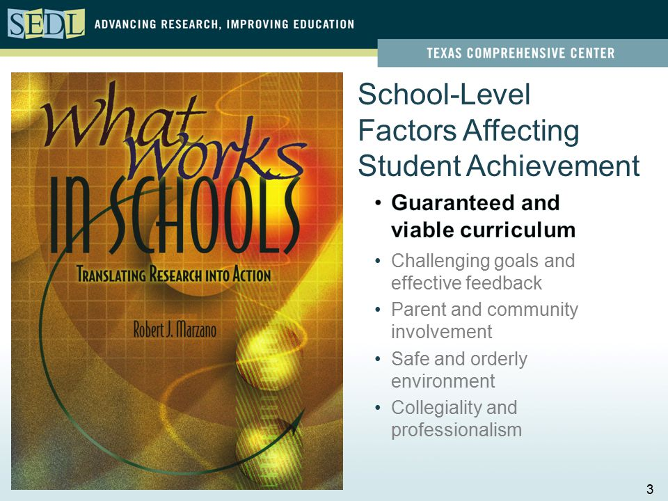 School-Level Factors Affecting Student Achievement Challenging goals and effective feedback Parent and community involvement Safe and orderly environment Collegiality and professionalism 3