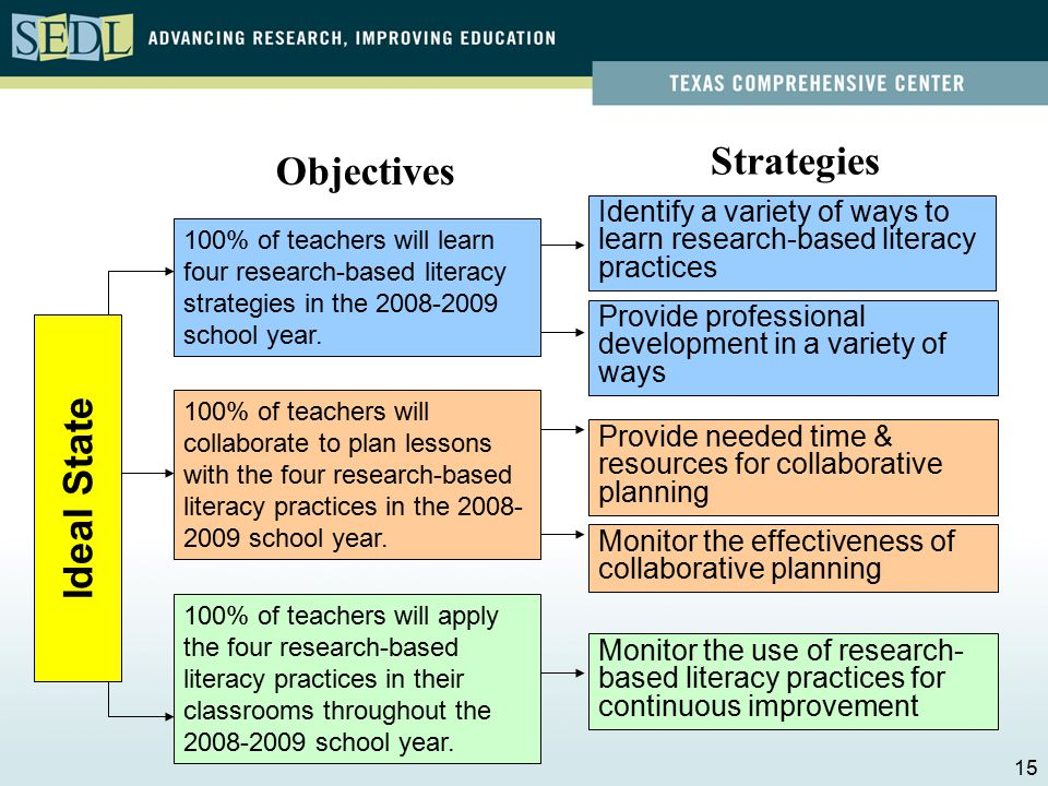 Identify a variety of ways to learn research-based literacy practices Provide professional development in a variety of ways Provide needed time & resources for collaborative planning Monitor the effectiveness of collaborative planning 100% of teachers will learn four research-based literacy strategies in the 2008-2009 school year.