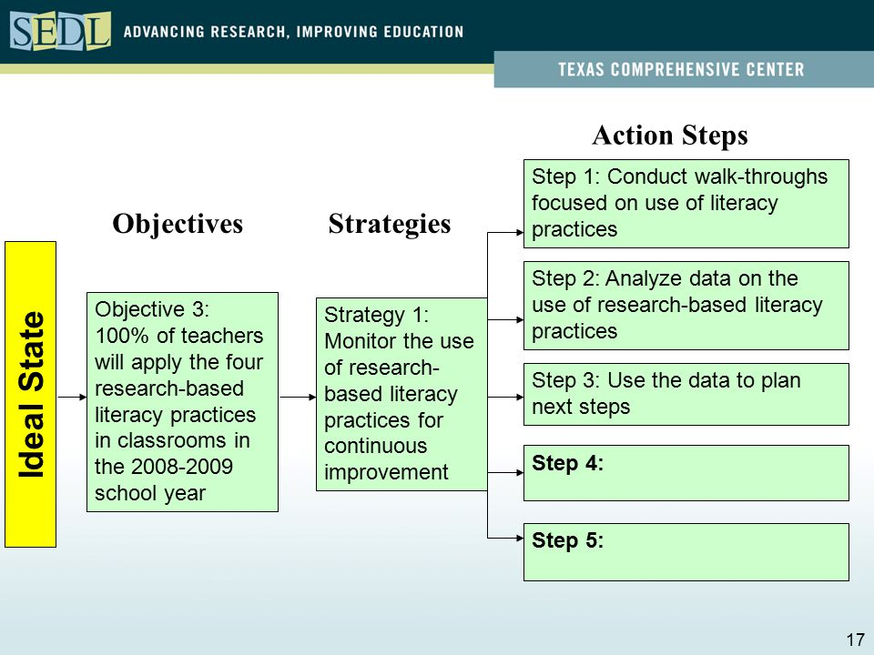 Identifying Action Steps to Carry out Strategies Action Step: Provides a detailed step-by-step process for implementing the strategies Leadership roles should be considered and written into plan: –Communicating clear expectations –Building capacity –Monitoring and reviewing 16