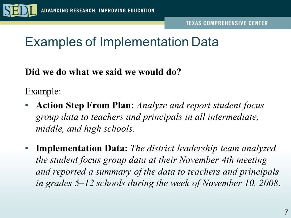Review: Implementation and Impact Implementation: Did we do what we said we would do.