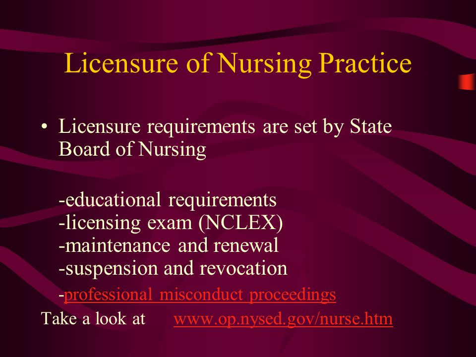 The State Board of Nursing may revoke or suspend a nurses license for willfully violating the nurse practice act: drug/ETOH abuse (most common) fraud ( in obtaining license) conviction of a felony gross or ordinary negligence previous disciplinary actions in other states physical / mental impairments practicing after your license expires