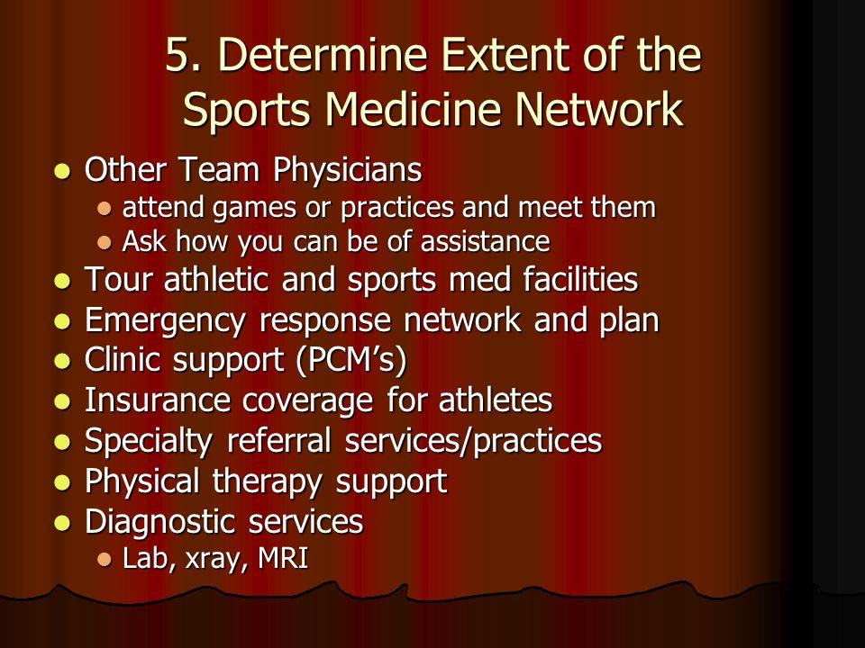 4. Determine needed coverage Settings of care Settings of care Games Games Away games? Away games? Practices? Practices? Training room clinics? Traini