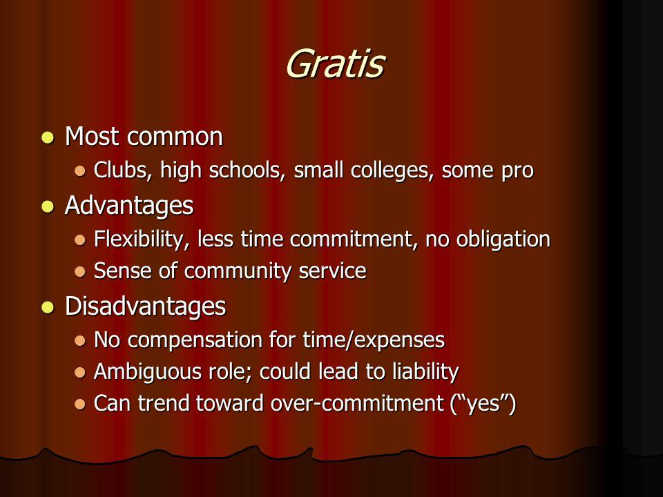 Types of Financial Arrangements Gratis (work for free) Gratis (work for free) Non-monetary compensation Non-monetary compensation Fee for service Fee