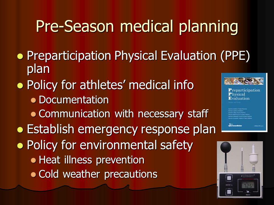 8. Prepare for medical coverage Pre-season planning Pre-season planning Game-day planning Game-day planning