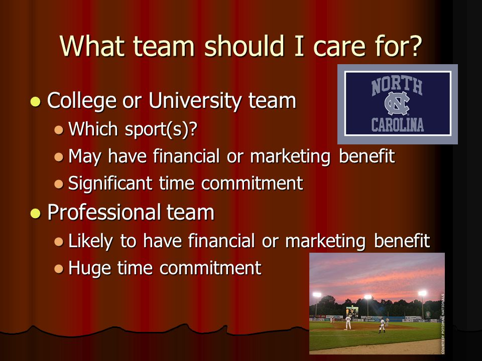 1. What team should I care for? Community club teams Community club teams Sense of community service and camaraderie Sense of community service and ca