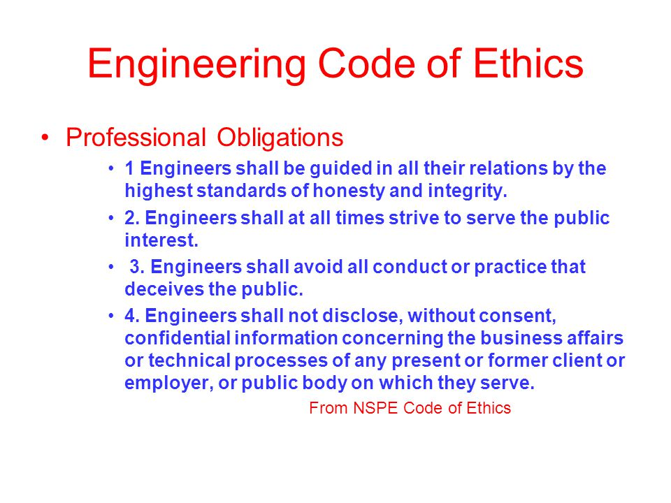 Engineering Code of Ethics Professional Obligations 1 Engineers shall be guided in all their relations by the highest standards of honesty and integrity.
