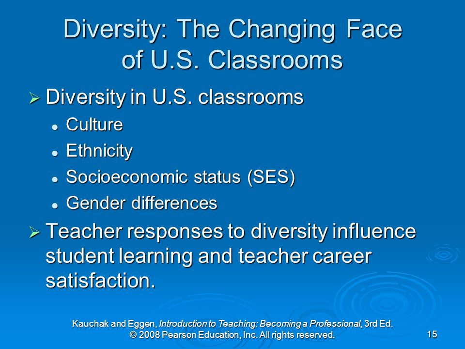 Kauchak and Eggen, Introduction to Teaching: Becoming a Professional, 3rd Ed. © 2008 Pearson Education, Inc. All rights reserved.15 Diversity: The Cha