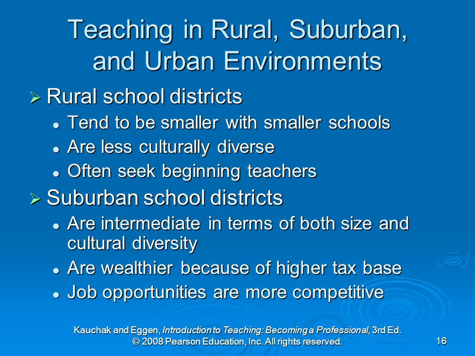 Kauchak and Eggen, Introduction to Teaching: Becoming a Professional, 3rd Ed. © 2008 Pearson Education, Inc. All rights reserved.16 Teaching in Rural,