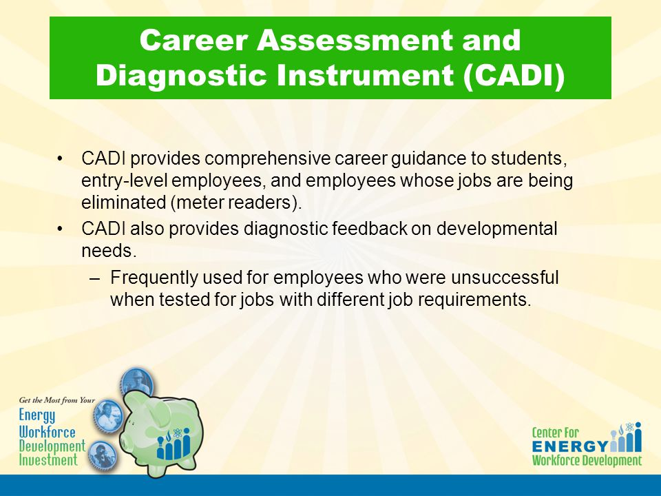 Career Assessment and Diagnostic Instrument (CADI) CADI provides comprehensive career guidance to students, entry-level employees, and employees whose