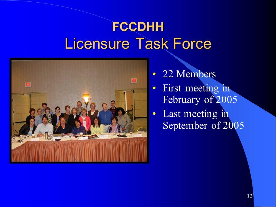 12 FCCDHH Licensure Task Force 22 Members First meeting in February of 2005 Last meeting in September of 2005