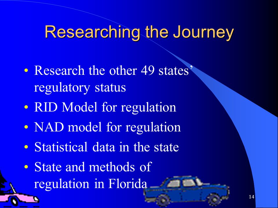 14 Researching the Journey Research the other 49 states' regulatory status RID Model for regulation NAD model for regulation Statistical data in the state State and methods of regulation in Florida