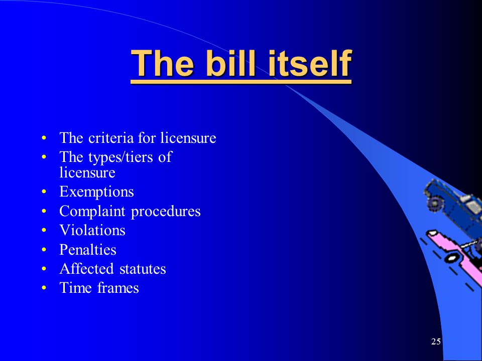 25 The bill itself The criteria for licensure The types/tiers of licensure Exemptions Complaint procedures Violations Penalties Affected statutes Time