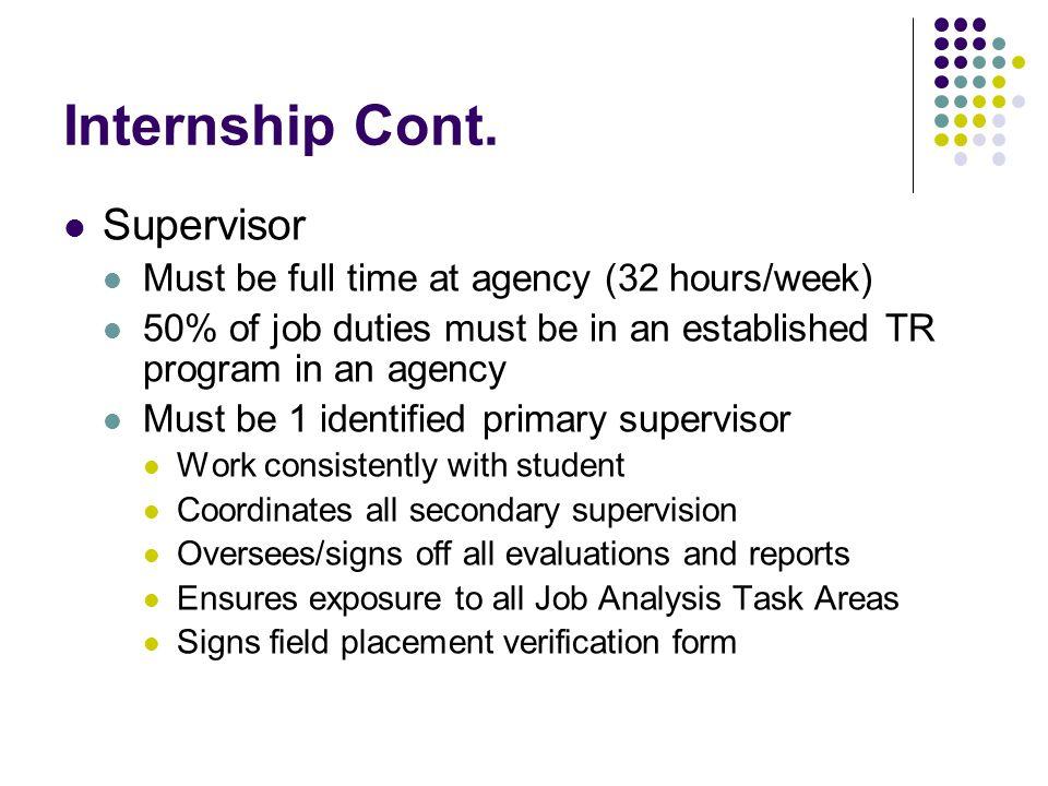 Internship Cont.
