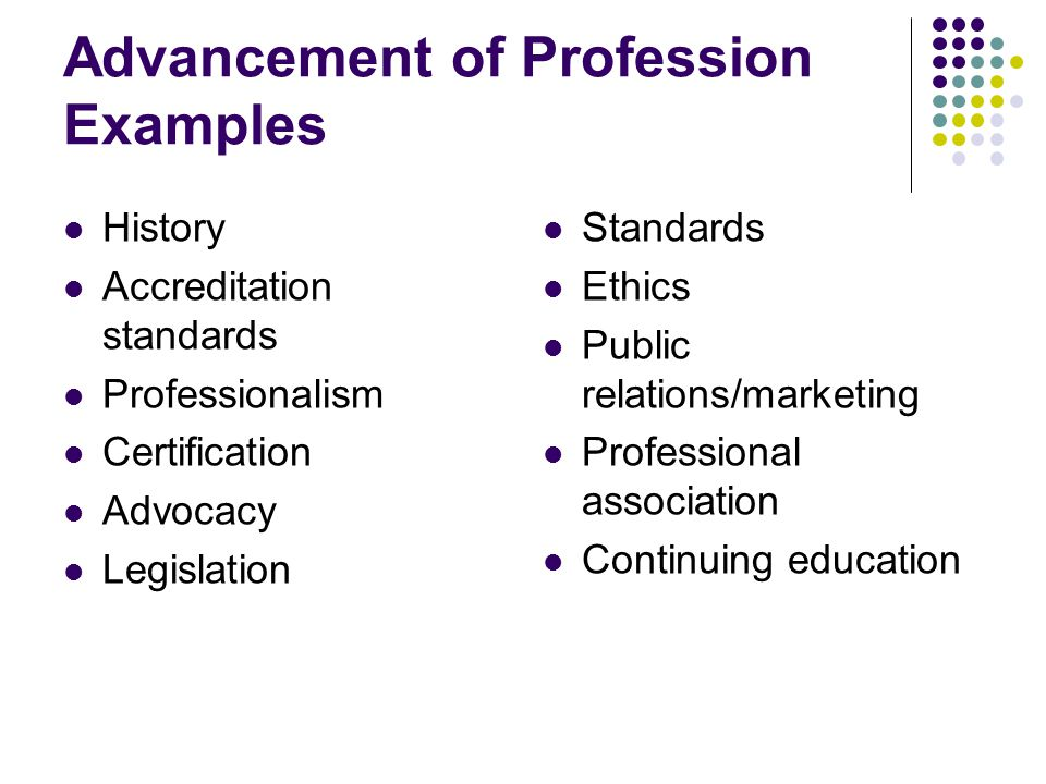 Advancement of Profession Examples History Accreditation standards Professionalism Certification Advocacy Legislation Standards Ethics Public relations/marketing Professional association Continuing education