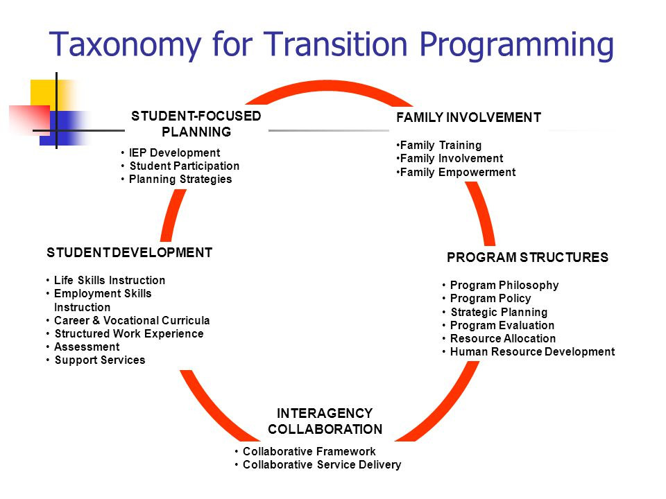 Taxonomy for Transition Programming IEP Development Student Participation Planning Strategies STUDENT-FOCUSED PLANNING PROGRAM STRUCTURES Program Philosophy Program Policy Strategic Planning Program Evaluation Resource Allocation Human Resource Development STUDENT DEVELOPMENT Life Skills Instruction Employment Skills Instruction Career & Vocational Curricula Structured Work Experience Assessment Support Services FAMILY INVOLVEMENT Family Training Family Involvement Family Empowerment Collaborative Framework Collaborative Service Delivery INTERAGENCY COLLABORATION