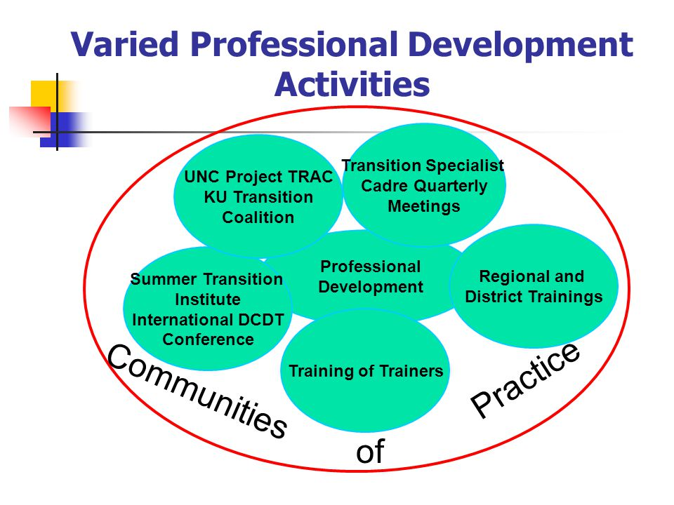 Professional Development Summer Transition Institute International DCDT Conference Regional and District Trainings Training of Trainers Transition Specialist Cadre Quarterly Meetings Varied Professional Development Activities Communities of Practice UNC Project TRAC KU Transition Coalition