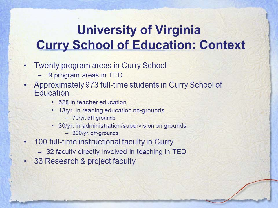 University of Virginia Curry School of Education: Context Twenty program areas in Curry School – 9 program areas in TED Approximately 973 full-time students in Curry School of Education 528 in teacher education 13/yr.