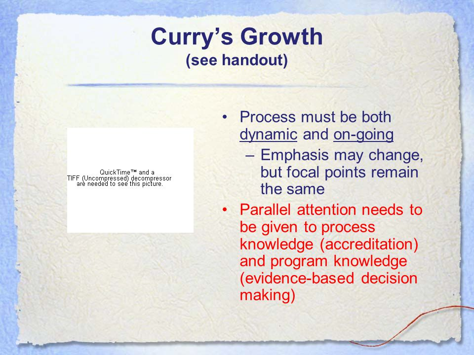 Curry's Growth (see handout) Process must be both dynamic and on-going –Emphasis may change, but focal points remain the same Parallel attention needs to be given to process knowledge (accreditation) and program knowledge (evidence-based decision making)