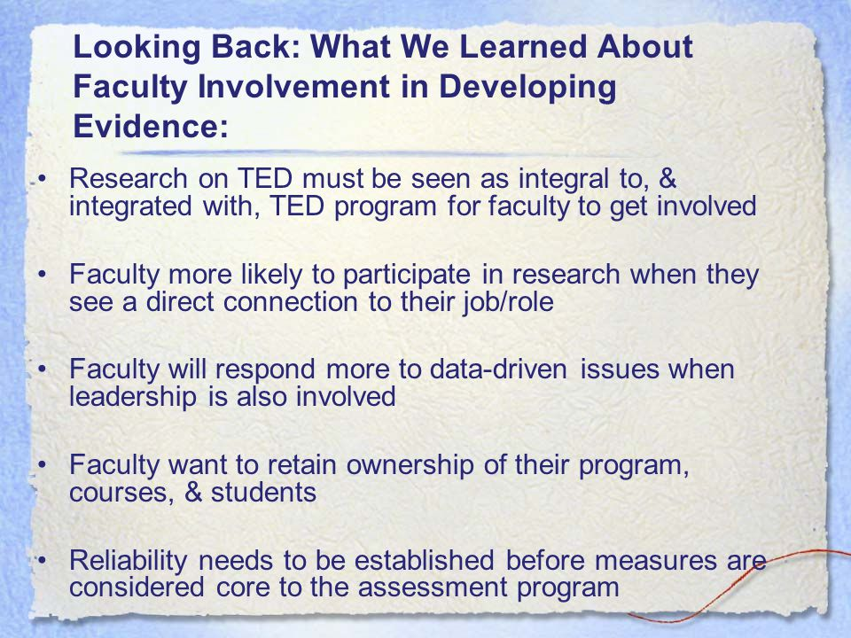 Looking Back: What We Learned About Faculty Involvement in Developing Evidence: Research on TED must be seen as integral to, & integrated with, TED pr