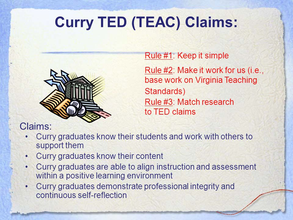 Curry TED (TEAC) Claims: Curry graduates know their students and work with others to support them Curry graduates know their content Curry graduates a