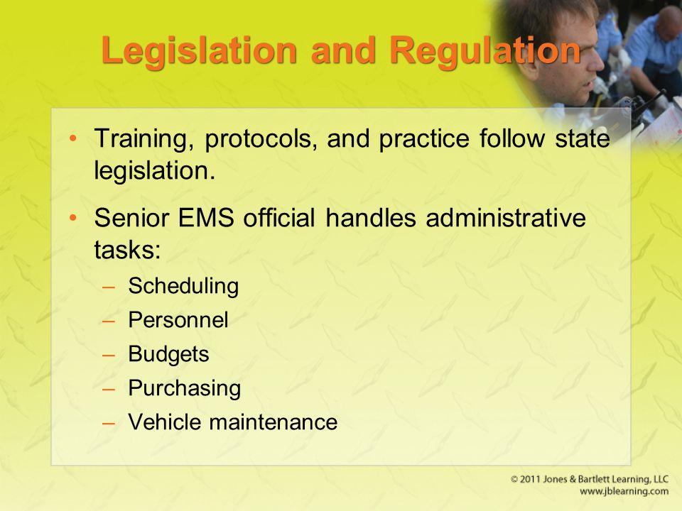 Legislation and Regulation Training, protocols, and practice follow state legislation.
