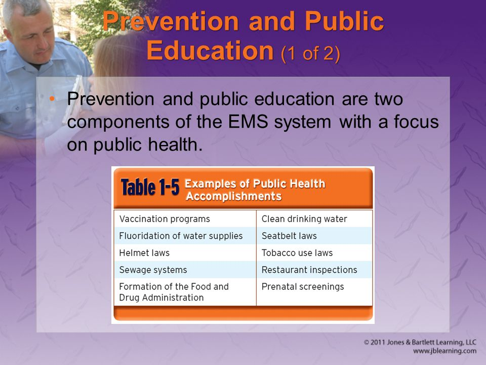 Prevention and Public Education (1 of 2) Prevention and public education are two components of the EMS system with a focus on public health.