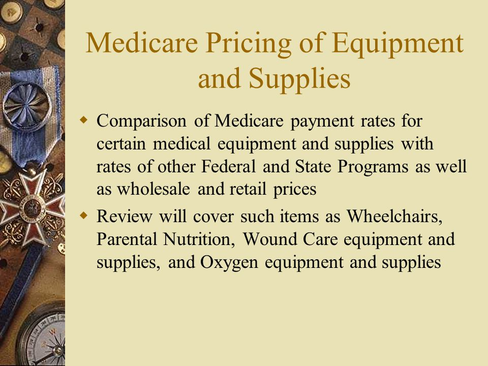 Medicare Pricing of Equipment and Supplies  Comparison of Medicare payment rates for certain medical equipment and supplies with rates of other Feder