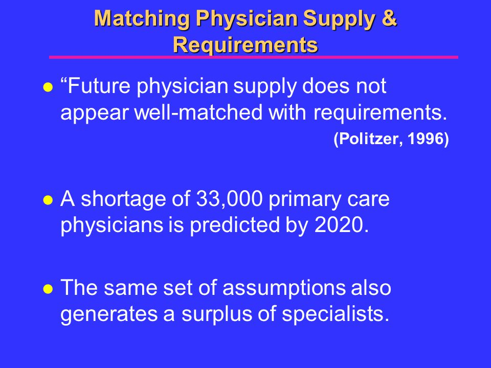Matching Physician Supply & Requirements l Future physician supply does not appear well-matched with requirements.