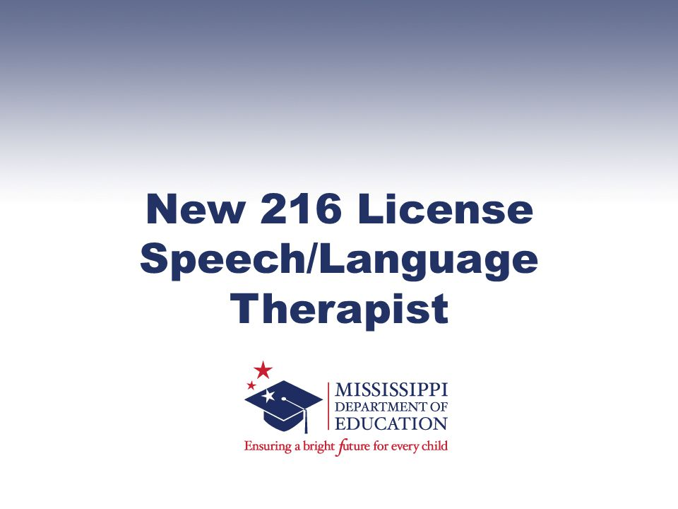 New 216 License Speech/Language Therapist