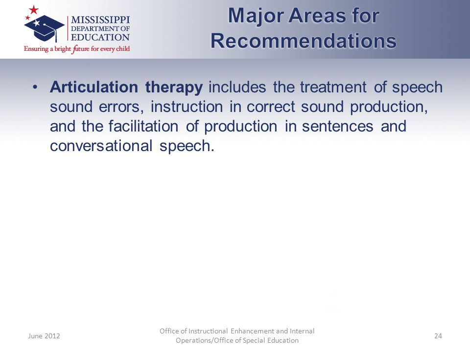 Articulation therapy includes the treatment of speech sound errors, instruction in correct sound production, and the facilitation of production in sen