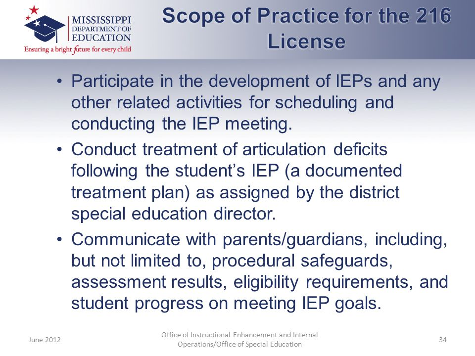 Participate in the development of IEPs and any other related activities for scheduling and conducting the IEP meeting. Conduct treatment of articulati