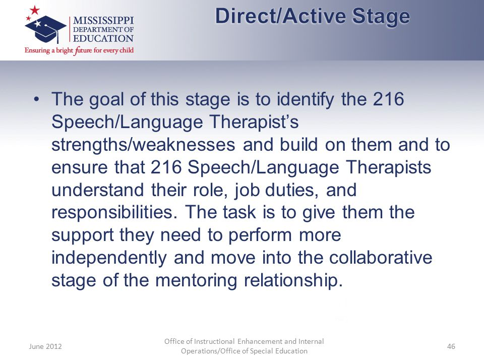 The goal of this stage is to identify the 216 Speech/Language Therapist's strengths/weaknesses and build on them and to ensure that 216 Speech/Languag