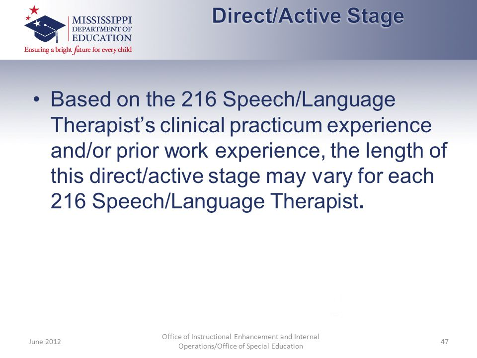 Based on the 216 Speech/Language Therapist's clinical practicum experience and/or prior work experience, the length of this direct/active stage may va