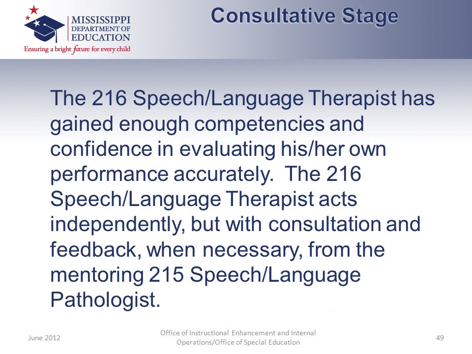 The 216 Speech/Language Therapist has gained enough competencies and confidence in evaluating his/her own performance accurately. The 216 Speech/Langu