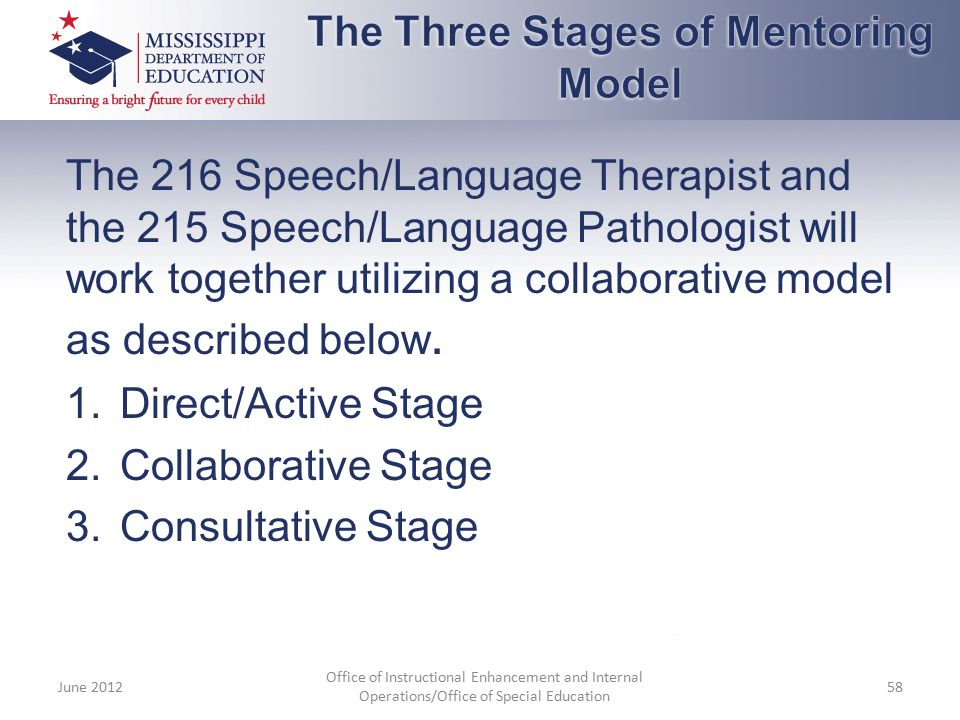The 216 Speech/Language Therapist and the 215 Speech/Language Pathologist will work together utilizing a collaborative model as described below. 1.Dir