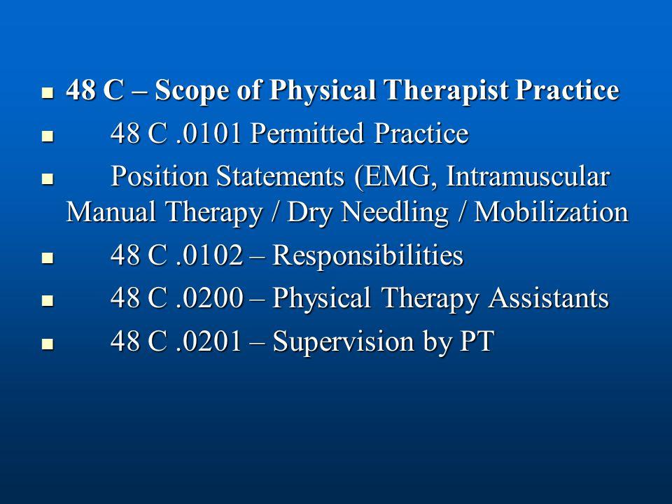 48 C – Scope of Physical Therapist Practice 48 C – Scope of Physical Therapist Practice 48 C.0101 Permitted Practice 48 C.0101 Permitted Practice Posi