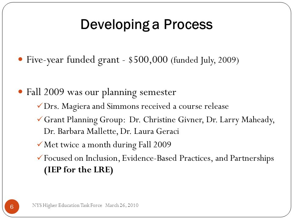 Developing a Process 6 Five-year funded grant - $500,000 (funded July, 2009) Fall 2009 was our planning semester Drs.