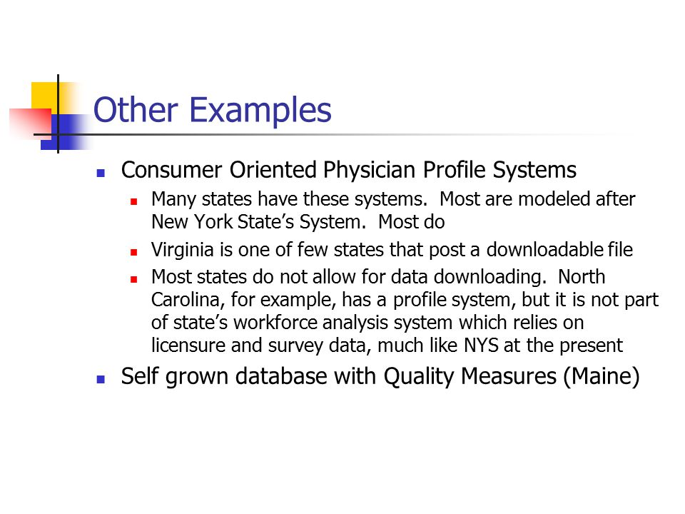 Other Examples Consumer Oriented Physician Profile Systems Many states have these systems.