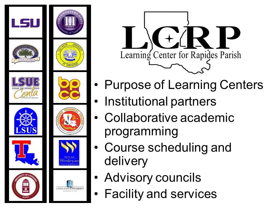 Purpose of Learning Centers Institutional partners Collaborative academic programming Course scheduling and delivery Advisory councils Facility and services