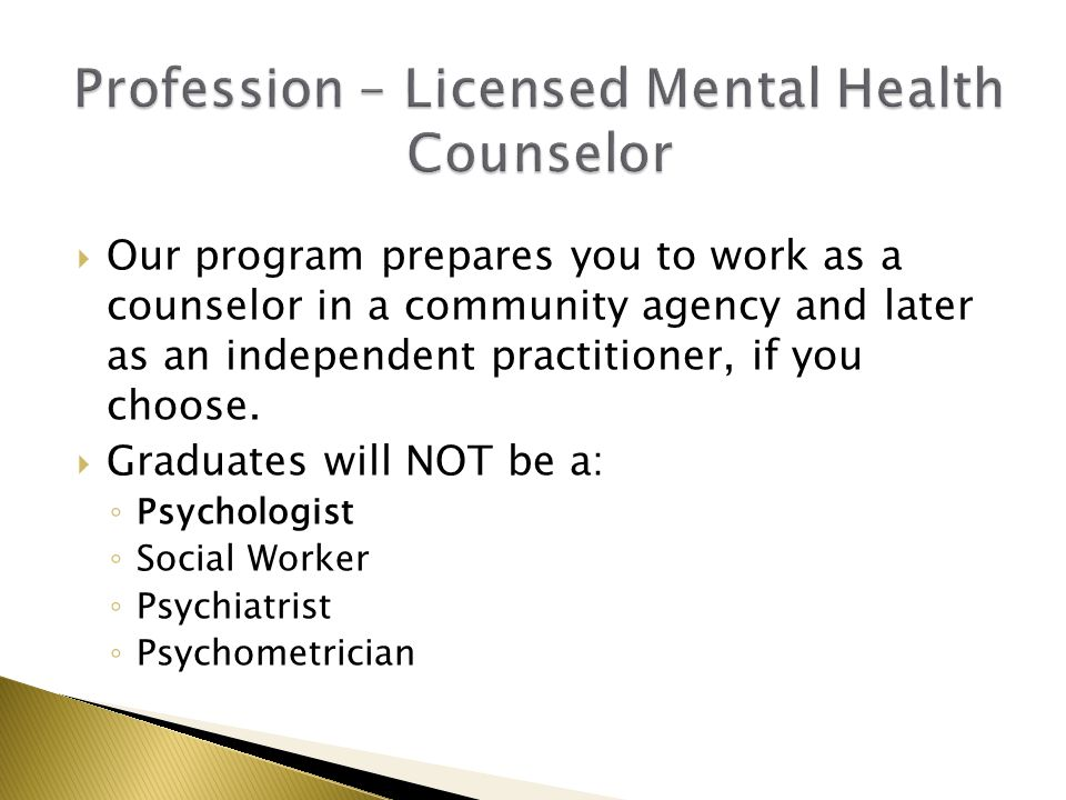  Our program prepares you to work as a counselor in a community agency and later as an independent practitioner, if you choose.